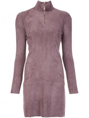 Платье с горловиной на молнии Jitrois. Цвет: коричневый