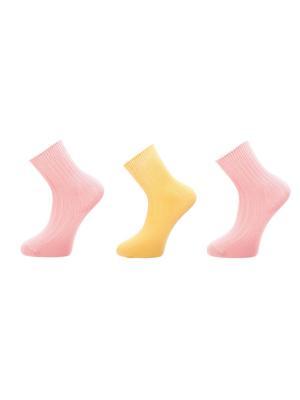 Хлопковые носки 3 пары BELLAVIA. Цвет: розовый, желтый