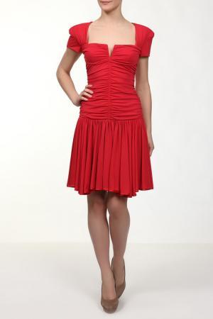 Прилегающее платье с необычным вырезом Gio Guerreri. Цвет: красный