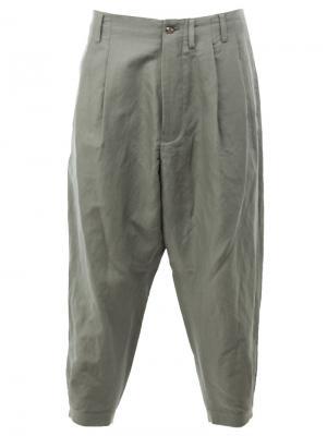 Укороченные брюки свободного кроя 08Sircus. Цвет: зелёный