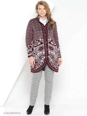 Пальто Milana Style. Цвет: бордовый, белый