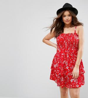 ASOS Curve Красное присборенное платье мини с ярусной юбкой и цветочным принтом A. Цвет: мульти