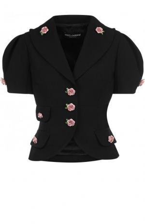Приталенный шерстяной жакет с декорированными пуговицами Dolce & Gabbana. Цвет: черный