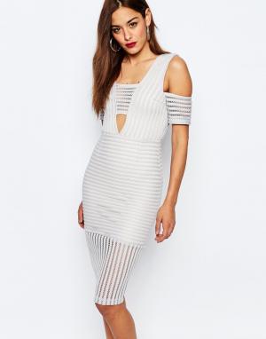 Missguided Платье с сетчатыми вставками и открытыми плечами. Цвет: серый