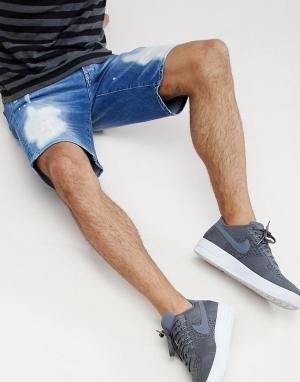 Armani Exchange Синие состаренные джинсовые шорты. Цвет: синий