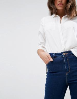 ASOS Темно-синие джинсы скинни с завышенной талией RIDLEY. Цвет: синий