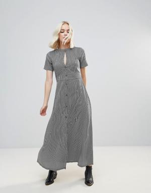 Rock & Religion Платье макси в полоску с вырезом капелькой. Цвет: черный
