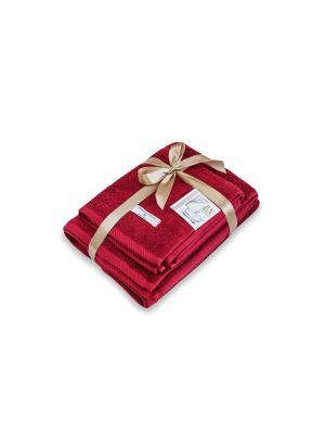 Комплект полотенец махровых  Bourgeois Nouveau Буржуа Нуво 1-45х90 1-70х130 с лентой Василиса. Цвет: бордовый