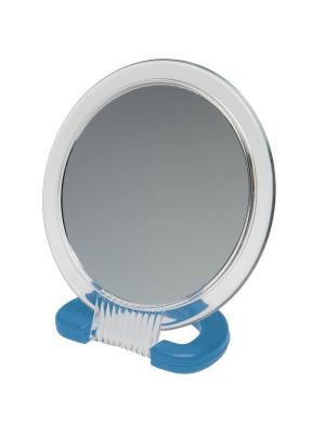 Зеркало  настольное в прозрачной оправе на пластковой подставке Dewal. Цвет: синий, прозрачный