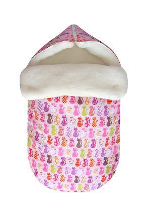 Конверт на овчине JustCute Кошки (зима) СуперМаМкет. Цвет: розовый