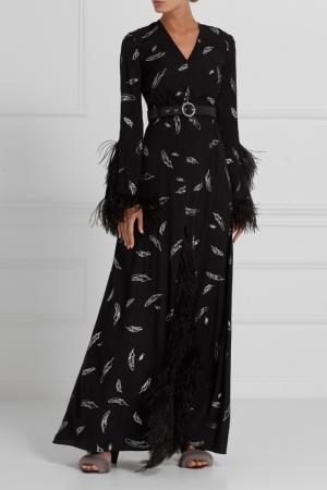 Шелковое платье с перьями A LA RUSSE. Цвет: черный