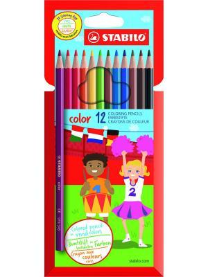 Набор цветных карандашей STABILO 12ЦВ , NEW DESIGN. Цвет: голубой
