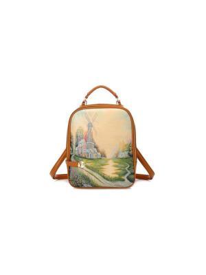 Сумка-рюкзак The mill Kawaii Factory. Цвет: кремовый, светло-зеленый