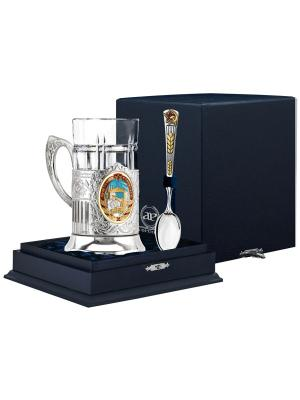 Набор для чая Строитль (подстаканник посерб.+ стакан хрустальный + серебряная ложка) футляр АргентА. Цвет: серебристый