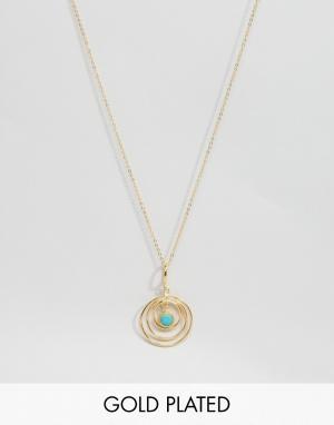 Ottoman Hands Ожерелье с круглой подвеской из бирюзы. Цвет: золотой