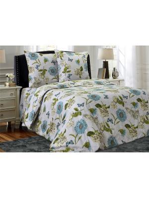 Комплект постельного белья,Евро Блакiт. Цвет: зеленый, светло-серый, серо-голубой