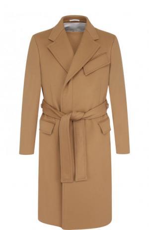 Однобортное шерстяное пальто с поясом CALVIN KLEIN 205W39NYC. Цвет: бежевый