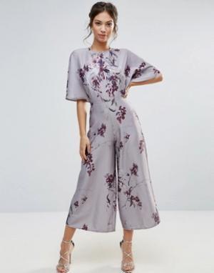 Hope and Ivy Комбинезон с рукавами-кимоно и принтом &. Цвет: серый