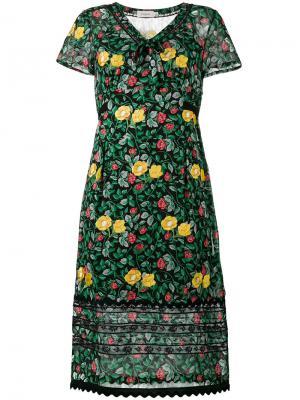 Полупрозрачное платье с цветочным принтом Coach. Цвет: зелёный