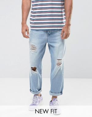 ASOS Голубые выбеленные джинсы с рваной отделкой. Цвет: синий