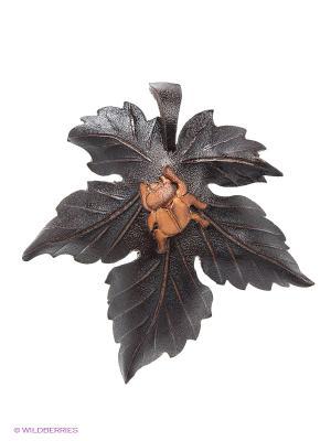 Брошь Жук на листике Мастер ГРиСС. Цвет: черный, коричневый, темно-коричневый