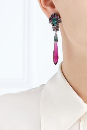 Серьги Кокошники Axenoff Jewellery. Цвет: зеленый, пурпурный