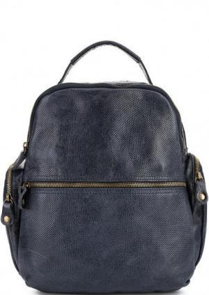 Кожаный рюкзак с двумя отделами Bruno Rossi. Цвет: синий