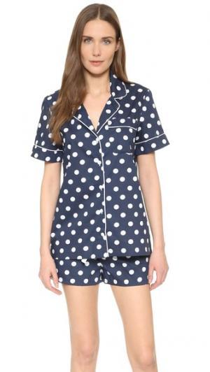 Пижама Belle Three J NYC. Цвет: белый горошек на темно-синем фоне/белая отделка