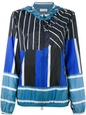 Куртка с капюшоном  и полосатым принтом Pierre-Louis Mascia. Цвет: синий
