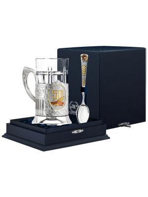 Набор для чая 50 Лет (подстаканник посереб.+стакан+серебряная ложка)+футляр АргентА. Цвет: серебристый