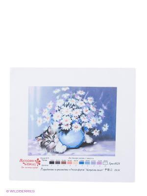 Рисунок на шелке Котенок Матренин Посад. Цвет: синий, белый