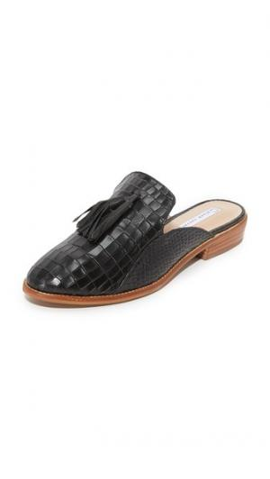 Туфли без задника с кисточками и тиснением под крокодила blank canvas. Цвет: голубой