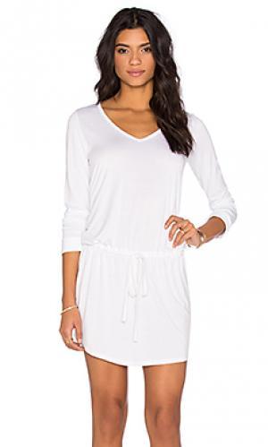 Платье с v-образным вырезом и длинным рукавом noel Michael Lauren. Цвет: белый