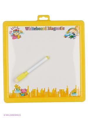 Доска для рисования двухсторонняя Часы Amico. Цвет: желтый