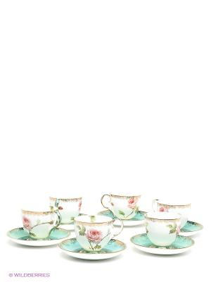 Чайный набор на 6 персон Роза Pavone. Цвет: белый