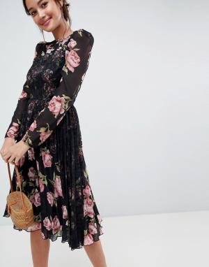 ASOS Платье миди с цветочным принтом и длинными рукавами. Цвет: мульти