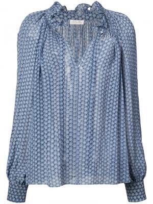Блузка с узором Love Shack Fancy. Цвет: синий
