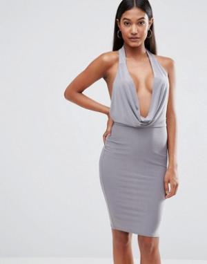 Club L Облегающее платье с высокой горловиной. Цвет: серый
