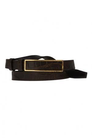 Тонкий кожаный ремень J. Mendel. Цвет: черный
