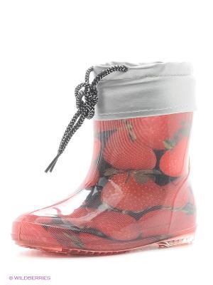 Резиновые сапоги BRIS. Цвет: красный