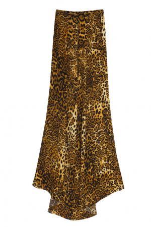 Шелковая юбка в пол с леопардовым принтом Tzipporah. Цвет: коричневый