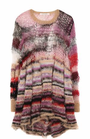 Приталенное мини-платье с длинным рукавом Rodarte. Цвет: разноцветный