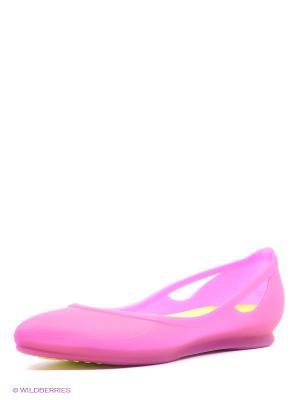 Балетки Crocs Rio FlatW. Цвет: розовый, желтый