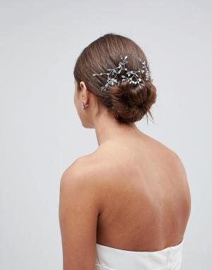 ASOS Заколка для волос в виде лозы со стразами DESIGN Bridal. Цвет: серебряный
