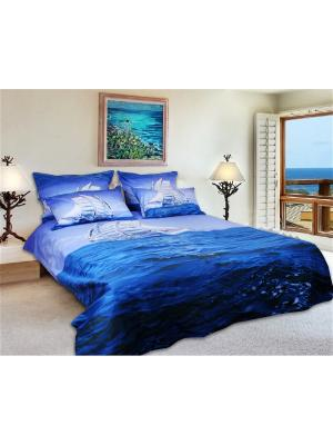 Постельное белье Parus 2,0 сп.Euro Buenas Noches. Цвет: синий, голубой, белый