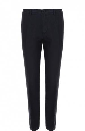 Льняные брюки прямого кроя 120% Lino. Цвет: темно-синий