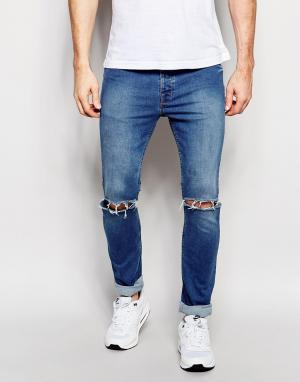 Hype Облегающие джинсы с рваными коленками. Цвет: синий