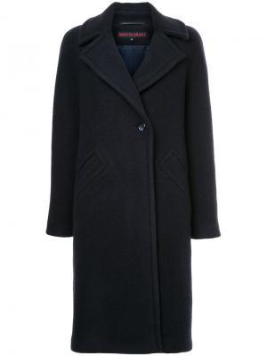 Однобортное пальто Martin Grant. Цвет: синий