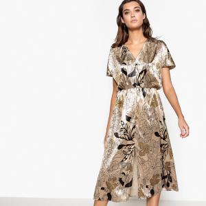 Платье велюровое с цветочным принтом, разрезом La Redoute Collections. Цвет: рисунок цветочный/фон бежевый
