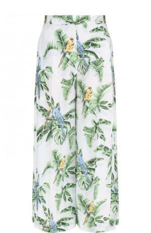 Расклешенные шелковые брюки с принтом Stella McCartney. Цвет: голубой